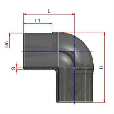 Отвод d 225 ПЭ 100 SDR 13,6