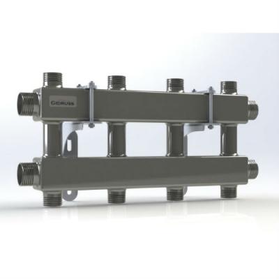 Модульный коллектор отопления на 4 контура Gidruss MKSS-100-4DU из нержавейки