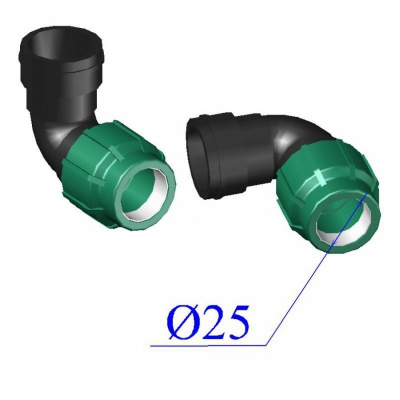 Отвод ПНД компрессионный d25х 3/4'' с внутр.резьбой