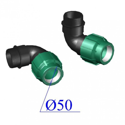 Отвод ПНД компрессионный d50х 2'' с наруж.резьбой