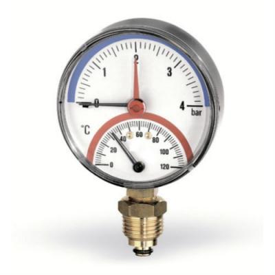 Термоманометр радиальный Watts F+R828, 80мм, 0-120С, 0-6 бар с запорным клапаном
