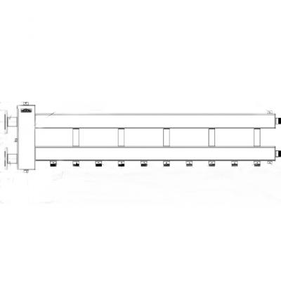 Коллектор из нержавейки с гидрострелкой Gidruss на 6 контуров BMFSS-300-6D фланцевый