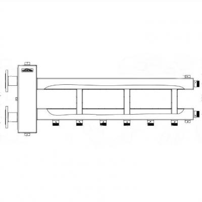 Коллектор из нержавейки с гидрострелкой Gidruss на 4 контура BMFSS-300-4D фланцевый