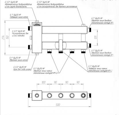 Коллектор отопления с гидрострелкой компакт на 3 контура Gidruss BMK-60-3D