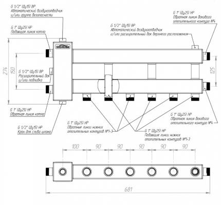 Коллектор отопления с гидрострелкой компакт на 4 контура Gidruss BMK-60-4D