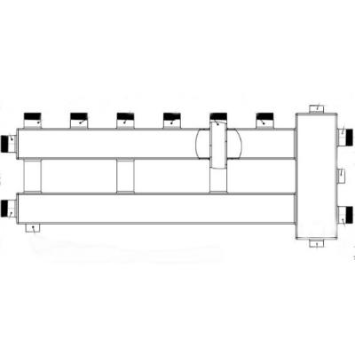 Коллектор отопления с гидрострелкой компакт на 4 контура Gidruss BMK-60-4U