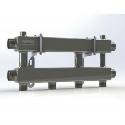 Модульный коллектор отопления на 2 контура Gidruss MKSS-100-2 из нержавейки