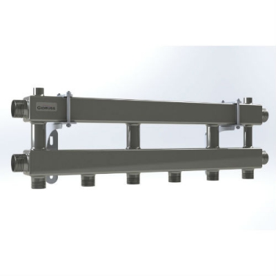 Модульный коллектор отопления на 3 контура Gidruss MKSS-100-3 из нержавейки