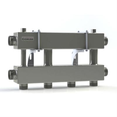Модульный коллектор отопления на 2 контура Gidruss MKSS-150-2x32 из нержавейки