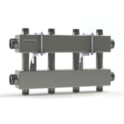 Модульный коллектор отопления на 4 контура Gidruss MKSS-150-4DUx25 из нержавейки
