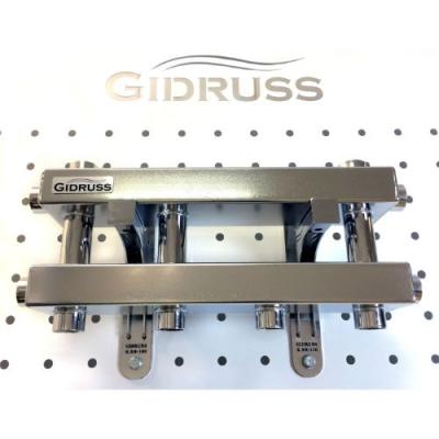 Модульный коллектор  Gidruss MKSS-60-3D из нержавейки на 3 контура