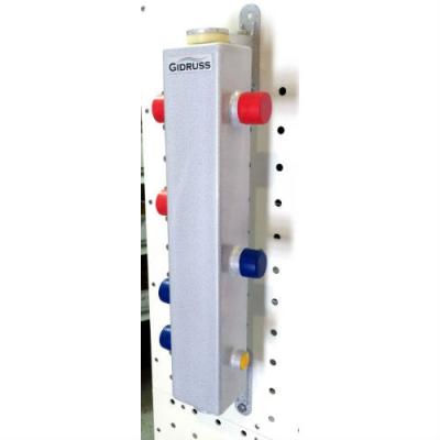 Термо-гидравлический разделитель ТGR-60-25х2 Gidruss с вертикальным коллектором на 2 контура