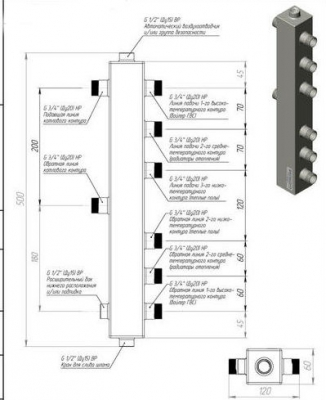 Термо-гидравлический разделитель ТGR-40-20х3 Gidruss с вертикальным коллектором на 3 контура