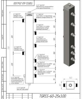 """Термо-гидравлический разделитель Gidruss из нержавеющей стали на 3 контура ТGRSS-60-25х3 до 60 кВт 1"""""""