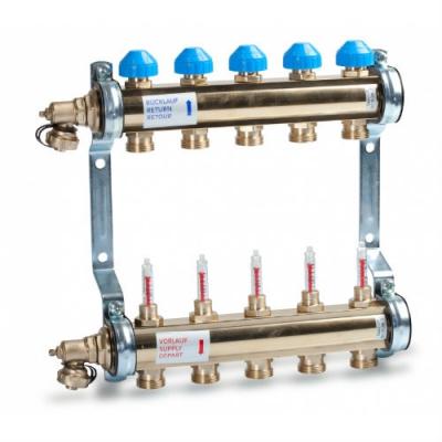 Коллектор для теплого пола Watts HKV/T 1-10 из латуни с расходомерами