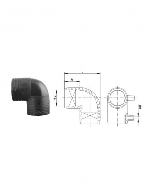 Отвод d 25x45° ПЭ100 SDR11 электросварной