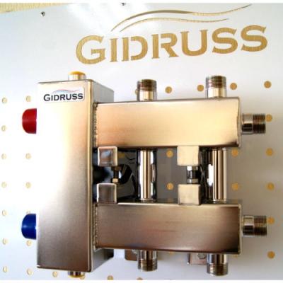 Коллектор из нержавейки с гидрострелкой компакт на 3 контура Gidruss BMKSS-60-3DU