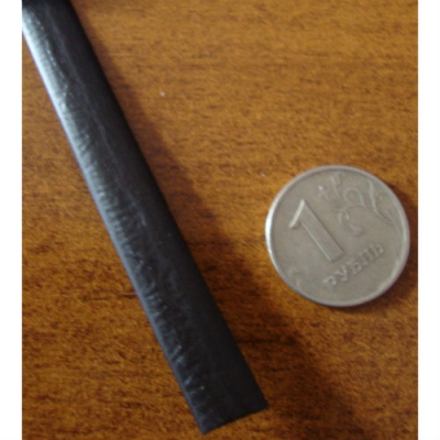 """Полиротанг """"Полумесяц черный"""", ширина 9 мм, тиснение кожа"""