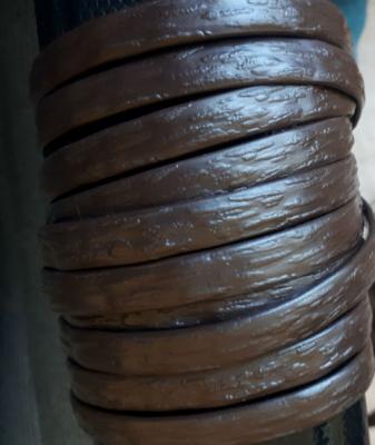 """Полиротанг """"Полумесяц цвет шоколадный"""", ширина 6-12 мм, тиснение кора дерева"""