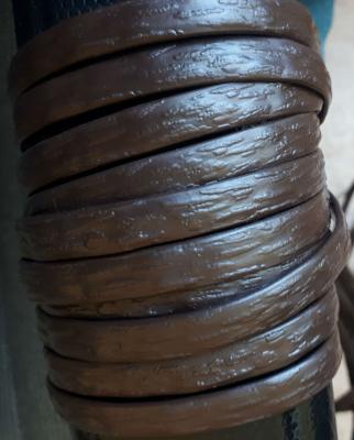 """Полиротанг """"Полоса цвет шоколадный"""", ширина 6-12 мм, тиснение кора дерева"""