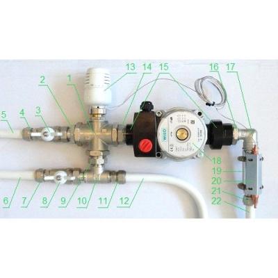 Насосно-смесительный узел Valtec Combimix VT.COMBI.S.180 для теплого пола с сервоприводом, без насоса